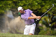 Sam Burns of LSU hits out of the green side bunker on number six during the first round of the 3rd annual Kaanapali Classic collegiate invitational. Kaanapali Royal Course Lahaina, Hawaii November 4th, 2016/ Photo by Aric Becker