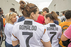 July 16, 2018 - Turin, Piemonte, Italy - Juventus supporters wait for Cristiano Ronaldo, who makes medical checks at the Juventus medical center in Turin, Italy, on July 16, 2018. (Credit Image: © Mauro Ujetto/NurPhoto via ZUMA Press)