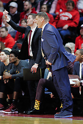 NORMAL, IL - February 02: Porter Moser leans into his broadcast during a college basketball game between the ISU Redbirds and the University of Loyola Chicago Ramblers on February 02 2019 at Redbird Arena in Normal, IL. (Photo by Alan Look)
