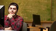 College student in conputer lab