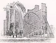 Lord Rosse's great 72-inch (1.828m) diameter reflecting telescope of 1845, called the Leviathan of Parsonstown.  Mounted between two brick walls, it could move only in a north-south direction.  The Earth's rotation provided movement in an east-west direction. From his paper 'On the Construction of Specula of Six-feet Aperture' in 'Philosophical Transactions of the Royal Society' (London, 1849).   William Parsons, 3rd Earl of Rosse (1800-1867).