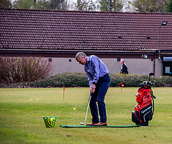 Pictured: <br />Scottish Liberal Democrat Leader Willie Rennie took some time to perfect his swing ahead of the Scottish elections at Cluny Activities in Fife today.  Mr Rennie was pitching to voters who voted for Ruth Davidson at the last election o switch to the Liberal Democrats. <br /><br />Ger Harley   EEm 19 April 2021