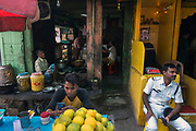 Fruit bazar of the muslim neighbourhood around the Nakhoda Mosque. It is a labyrinth of bazars and winding alleyways.