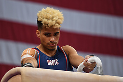 August 18, 2018 - Boston, Massachussetts, U.S - DONOTHAN BAILEY prepares to mount the pommel horse during the warm-up period before the final round of competition held at TD Garden in Boston, Massachusetts. (Credit Image: © Amy Sanderson via ZUMA Wire)
