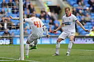 Bolton's Oscar Threlkend (41) clears the ball off the line. Skybet football league championship match, Cardiff city v Bolton Wanderers at the Cardiff city Stadium in Cardiff, South Wales on Saturday 23rd April 2016.<br /> pic by Carl Robertson, Andrew Orchard sports photography.