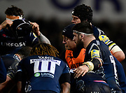 Pete Anglsea give instruction during a break in the Aviva Premiership match Sale Sharks -V- Saracens at The AJ Bell Stadium, Salford, Greater Manchester, England on Friday, February 16, 2018. (Steve Flynn/Image of Sport)