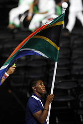 South Africa's flag bearer Caster Semenya leads the team out during the Opening Ceremony for the 2018 Commonwealth Games at the Carrara Stadium in the Gold Coast, Australia.