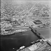 Y-680801. aerials Broadway bridge Coliseum area. August 1, 1968