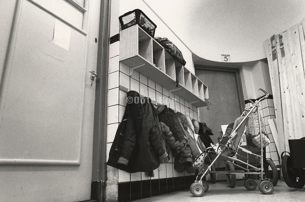 Hallway coat storage in preschool Holland
