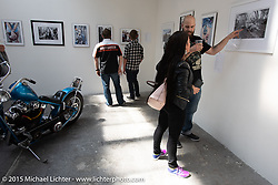 Michael Lichter display of photographs in the Art and Wheels art and motorcycle show in the M45 gallery in Basel, Switzerland. May 16, 2015. Photography ©2015 Michael Lichter.