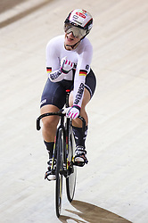 March 2, 2018 - Apeldoorn, Netherlands - Gold medalist Germany's Kristina Vogel celebrates during the women's sprint final during the UCI Track Cycling World Championships in Apeldoorn on March 2, 2018. (Credit Image: © Foto Olimpik/NurPhoto via ZUMA Press)
