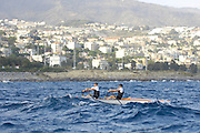 San Remo, ITALY,  Qualification Races, men's double sculls sculls M2X, Dave RICHES and James COWLEY, Westminster School CBS,  rowing on the open sea.  2008 FISA Coastal World Championships. Friday 17/10/2008. [Photo, Peter Spurrier/Intersport-images] Coastal Rowing Course: San Remo Beach, San Remo, ITALY