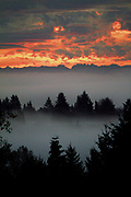 The Cascade Mountains provide the backdrop and fog provides the foreground in this early morning sunrise from Lake Forest Park. (Mike Siegel / The Seattle Times)