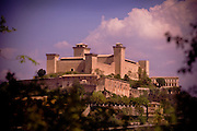A view of the highest point in Spoleto, Italy - the La Rocca Albornoziana, an old castle now turned into a prison.