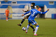 Barrow Patrick Brough (3) Scunthorpe United Jem Karacan (23) battles for possession during the EFL Sky Bet League 2 match between Barrow and Scunthorpe United at Progression Solicitors Stadium, Barrow, United Kingdom on 16 January 2021.
