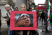 Protesters gather for a demonstration called by Syria Solidarity to protest about the situation in Aleppo, Syria on October 1st 2016 in London, United Kingdom.