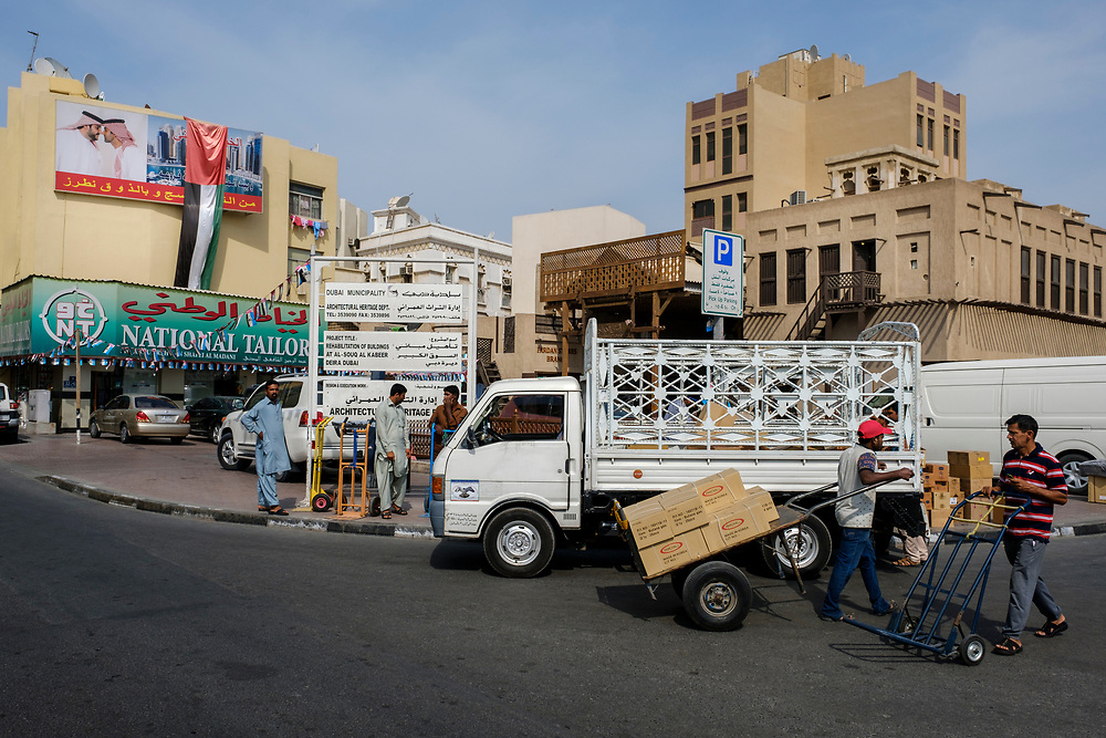 UNITED ARAB EMIRATES, DUBAI - CIRCA JANUARY 2017: Street scene from Deira in Dubai. This place of town is the historic commercial center of the city.