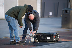 © Licensed to London News Pictures. 22/01/2021. London, UK. A police drone bring operated  at the scene where police are involved in a standoff with a man reported to be in possession of a firearm at a residential address in Southhall, west London. Photo credit: Ben Cawthra/LNP
