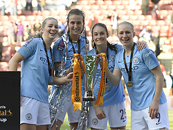 February 23, 2019 - Sheffield, England, United Kingdom - Sheffield, England 23rd February. Manchester City celebrate winning the league cup during the  FA Women's Continental League Cup Final  between Arsenal and Manchester City Women at the Bramall Lane Football Ground, Sheffield United FC Sheffield, Saturday 23rd February. (Credit Image: © Action Foto Sport/NurPhoto via ZUMA Press)