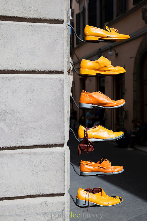 Yellow Italian leather shoes for sale in Montepulciano, Italy