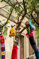 Pictured: Crochet Creatures<br /><br />Someone has been busy during lockdown by creating a mystical crocheted garden of creatures. Austrian Daniela McDonald, who lives in Polwarth, moved from Spain last September and has used the extra time at home to do some 'yarn bombing' picking up the habit from Spain of decorating trees.  She learnt crochet at school and knows that the skill is still being taught in Austrain schools to both boys and girls. Daniela has received many cards from passing children and she has asked them what theme she should try next.  The majority of passers by are looking forward to the ocean themed scene Daniela has planned.<br /><br />Ger Harley | EEm 28 June 2021