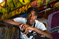 Parell PJ Samuel, 16. Bikestormz is the brainchild of leader Mac Ferrari, a group of young trick cyclists who are encouraged to put knives down and enjoy the healthy, positive side of urban youth culture by joining together  and developing their cycling skills. . London, September 27 2019.