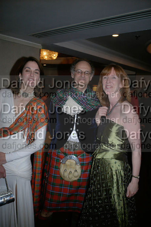 Claire Enders, Christopher Thompson and Prof. Fiona Gill, The Royal Caledonian Ball 2007. Grosvenor House. 4 May 2007.  -DO NOT ARCHIVE-© Copyright Photograph by Dafydd Jones. 248 Clapham Rd. London SW9 0PZ. Tel 0207 820 0771. www.dafjones.com.