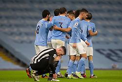 Ilkay Gundogan of Manchester City (L) celebrates after scoring his sides first goal - Mandatory by-line: Jack Phillips/JMP - 26/12/2020 - FOOTBALL - Etihad Stadium - Manchester, England - Manchester City v Newcastle United - English Premier League