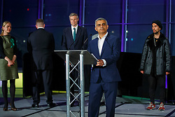 © Licensed to London News Pictures. 07/05/2016. London, UK. London Mayoral candidates reacting to Mayor of London SADIQ KHAN's victory speech following the announcement of the election results at City Hall in London on Saturday, 7 May 2016.  Labour MP Sadiq Khan has declared his victory and accused his Conservative counterpart, Zac Goldsmith MP of using underhand tactics during the campaign. Photo credit: Tolga Akmen/LNP