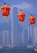 Chinese lanterns  in Hong Kong harbour. According to the Chinese tradition, at the very beginning of a new year, when there is a bright full moon hanging in the sky, there should be thousands of colorful lanterns hung out for people to appreciate.