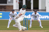 Gavin Griffiths avoids a short ball during Day 3 of the LV= Insurance County Championship match between Leicestershire County Cricket Club and Hampshire County Cricket Club at the Uptonsteel County Ground, Leicester, United Kingdom on 10 April 2021.