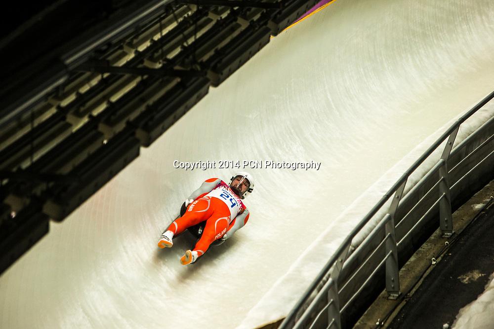 Maciej Kurowski (POL) competing in Men's Singles Luge at t he Olympic Winter Games, Sochi 2014