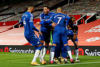 Football - 2020 / 2021 Premier League - Manchester United vs Everton - Old Trafford<br /> <br /> Dominic Calvert-Lewin of Everton celebrates scoring his sides equalising goal with team mates to make the score 3-3<br /> <br /> COLORSPORT/PAUL GREENWOOD
