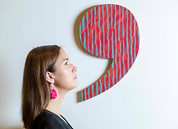 Alanna Brady, Development Manager at RSA with part of Punctuation Series 2016 (Semi-Colon) by Kate Whiteford OBE RSA at the RSA Open Exhibition of Art. The RSA Annual Exhibition is the most extensive exhibition of contemporary art and architecture in Scotland. The Annual Exhibition has evolved over the years, showcasing Scottish art alongside invited international artists. The exhibition runs from 2 November to 11 December 2019 at the RSA Building, Edinburgh.