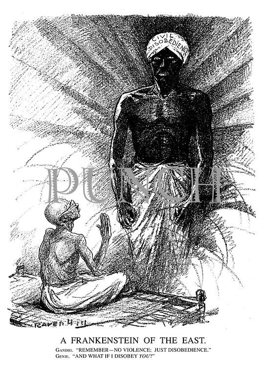 """A Frankenstein of the East. Gandhi. """"Remember—no voilence; just disobedience."""" Genie. """"And what if I disobey you?"""""""