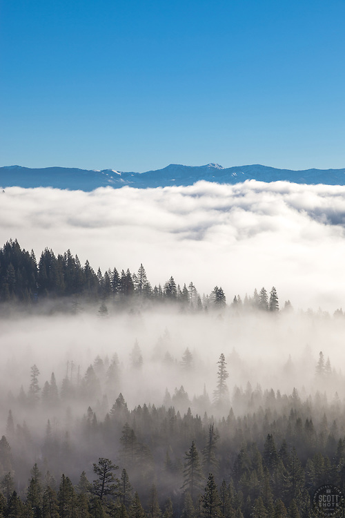 """""""Fog Over Truckee 1"""" - Photograph of low lying fog over Truckee, California and Donner Lake."""