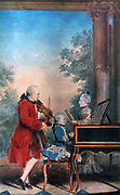 The Mozart family in Paris in 1763. Leopold Mozart (1719-1787) is the violinist, the singer is his daughter Maria Anna (Nannerl) (1751-1829) and his son Wolfgang Amadeus (1756-1791) is at the keyboard.