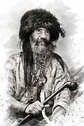Artistic images of a mountain man from a Wyoming rendezvous, dressed in leather, fur, beads, and pelts.