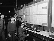 11/01/1985.01/11/1985.11th January 1985.The Aer Lingus Young Scientist Exhibition at the RDS Dublin ..Students gathered around the winning exhibit entitled 'The Music Typewriter' by Ronan Mc Nulty (seen sitting down)