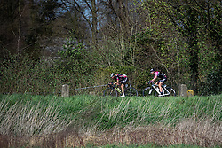 Early break of Claire Rose (Podium Ambition) and Anna Plitcha (BTC City Ljuljana) - Grand Prix de Dottignies 2016. A 117km road race starting and finishing in Dottignies, Belgium on April 4th 2016.