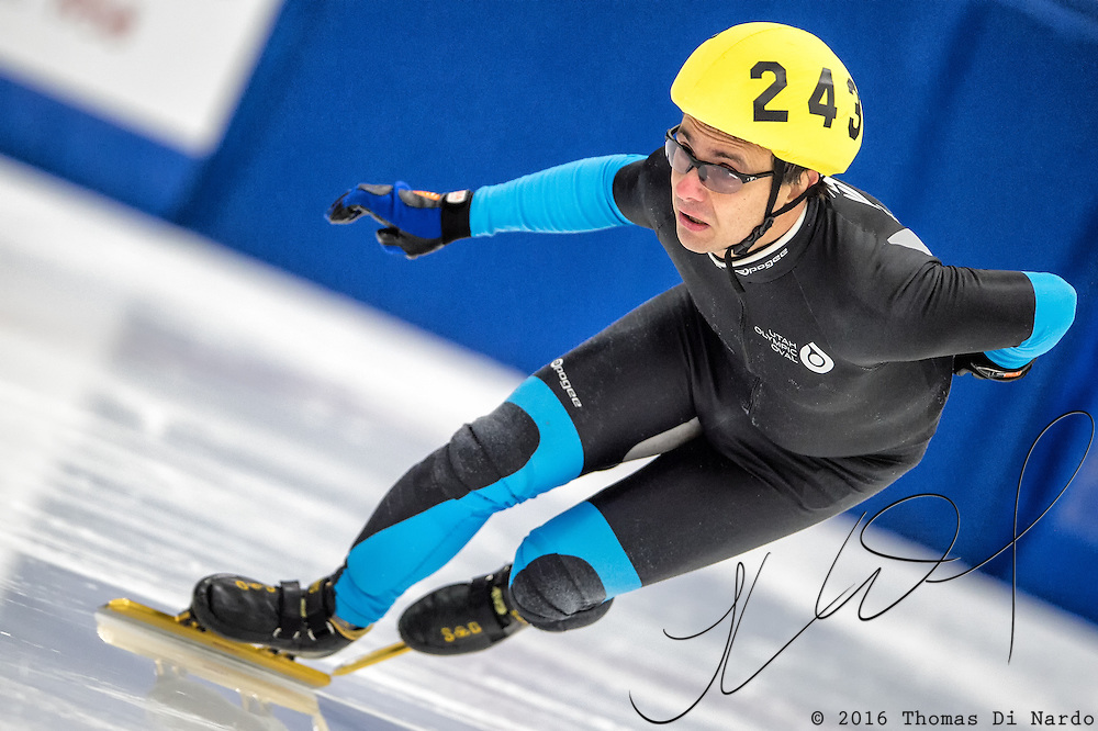 March 18, 2016 - Verona, WI - Steve Johnson, skater number 243 competes in US Speedskating Short Track Age Group Nationals and AmCup Final held at the Verona Ice Arena.