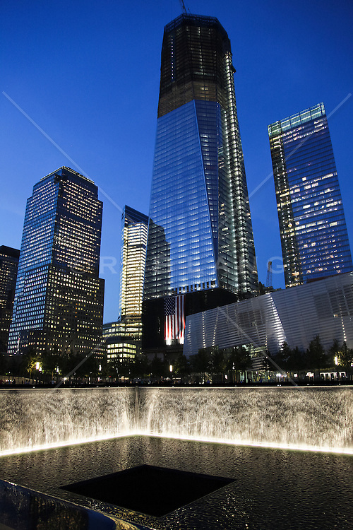 9/11 memorial at dusk