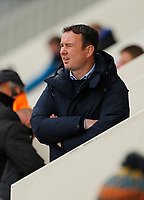 Football - 2020 / 2021 Sky Bet League Two - Morecambe vs. Bradford City<br /> <br /> Morecambe manager Derek Adams watches the final minutes of the game knowing that his team will miss out on automatic promotion to League 1 next season after Bolton grabbed third place with an away win at Crawley Town, at the Mazuma Stadium.<br /> <br /> COLORSPORT/ALAN MARTIN
