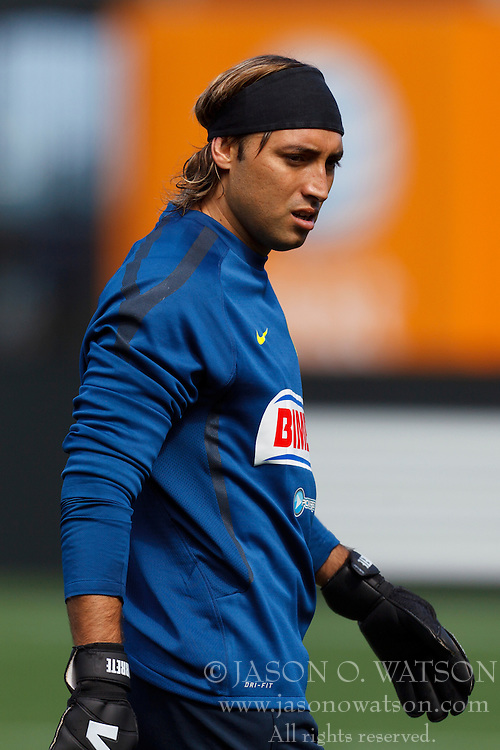 July 16, 2011; San Francisco, CA, USA;  Club America goalkeeper Armando Navarrete (1) warms up before the game against Manchester City at AT&T Park. Manchester City defeated Club America 2-0.
