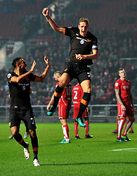 Michael Dawson of Hull City celebrates scoring against Bristol City - Mandatory by-line: Paul Knight/JMP - 25/10/2016 - FOOTBALL - Ashton Gate - Bristol, England - Bristol City v Hull City - EFL Cup