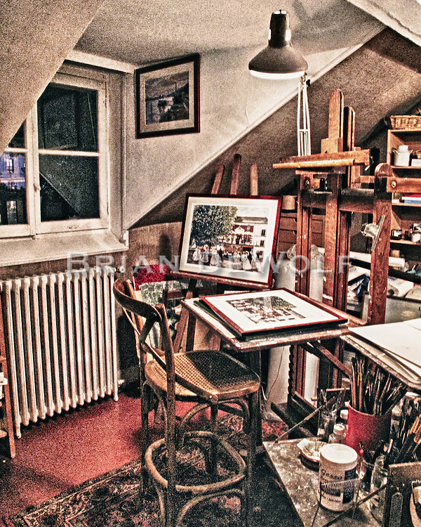 Pierre Rannaud's atelier, or workshop, at the top of a narrow winding stairway in his home in Chatou, France.  Aspect Ratio 1w x 1.25h.