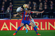 Michael Keane of Everton heads the ball for a chance on goal whilst under pressure from Scott Dann of Crystal Palace. Premier League match, Crystal Palace v Everton at Selhurst Park in London on Saturday 18th November 2017.<br /> pic by Steffan Bowen, Andrew Orchard sports photography.