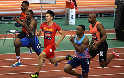 NEW YORK, Feb. 4, 2018  Xie Zhenye(C) of China competes during the Joe Yancey Men's 60m of the 111th NYRR Millrose Games in New York, the United States on Feb. 3, 2018. Xie Zhenye won the third place by 6.588 seconds. (Credit Image: © Qin Lang/Xinhua via ZUMA Wire)