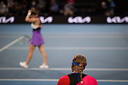 Serena Williams of the U.S. sits on her bench during a break between games while playing Romania's Simona Halep in a quarterfinal match during the 2021 Australian Open at Melbourne Park in Melbourne, Australia.