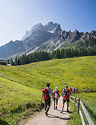 Croda Rossa di Sesto peak is also known as Cima Dieci and Sextener Rotwand (9728 ft/2965 m). From Bagni di Moso near Sesto in Val Pusteria (Pustertal), take the Rotwand lift (gondola) to Prati di Croda Rossa meadows for scenic walks in the Sesto Dolomites (Dolomiti di Sesto / Sexten / Sextner / Sextener Dolomiten). A short way up trail #100 offers a good overlook of Val Fiscalina (Fischleintal), in Trentino-Alto Adige/Südtirol (South Tyrol), Italy. The Dolomites are part of the Southern Limestone Alps, Europe. UNESCO honored the Dolomites as a natural World Heritage Site in 2009.